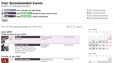 Last.fm Recommended Events
