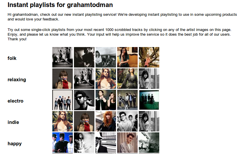 Last.fm instant playlisting